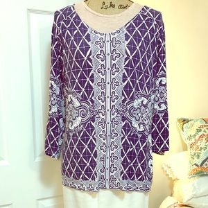 Chico's 3/4 Sleeve Geometric Print Tunic